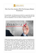 Pilot Your Own Airplane With The European Master Franchisees.pdf