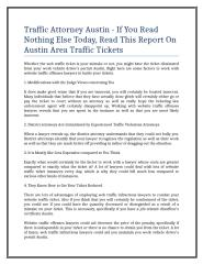 Traffic Attorney Austin - If You Read Nothing Else Today, Read This Report On Austin Area Traffic Tickets.doc